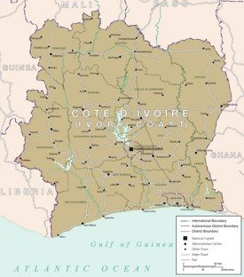 Map of Côte d'Ivoire with cities and towns