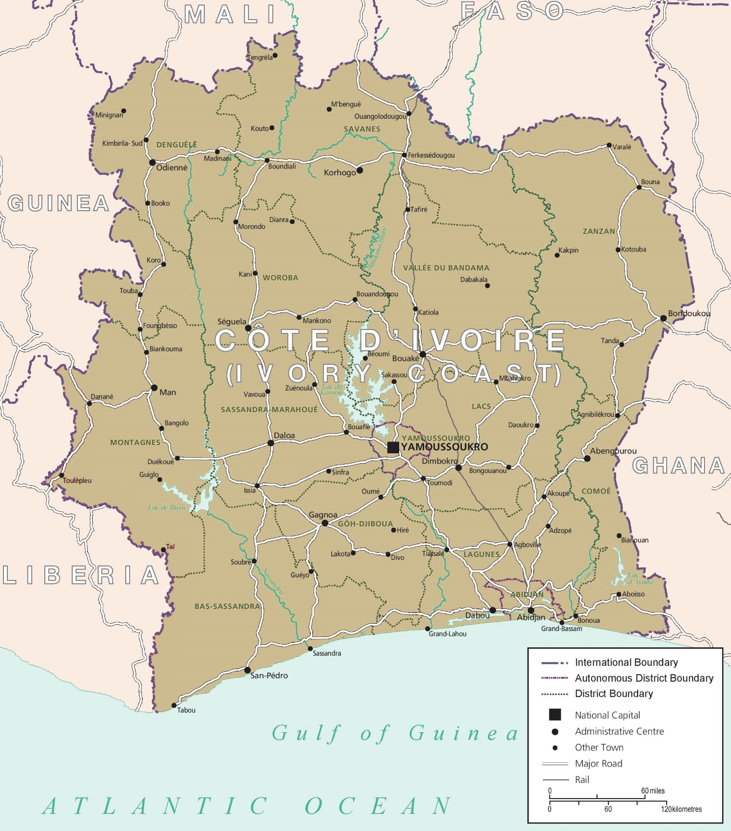 Map of Cte dIvoire with cities and towns