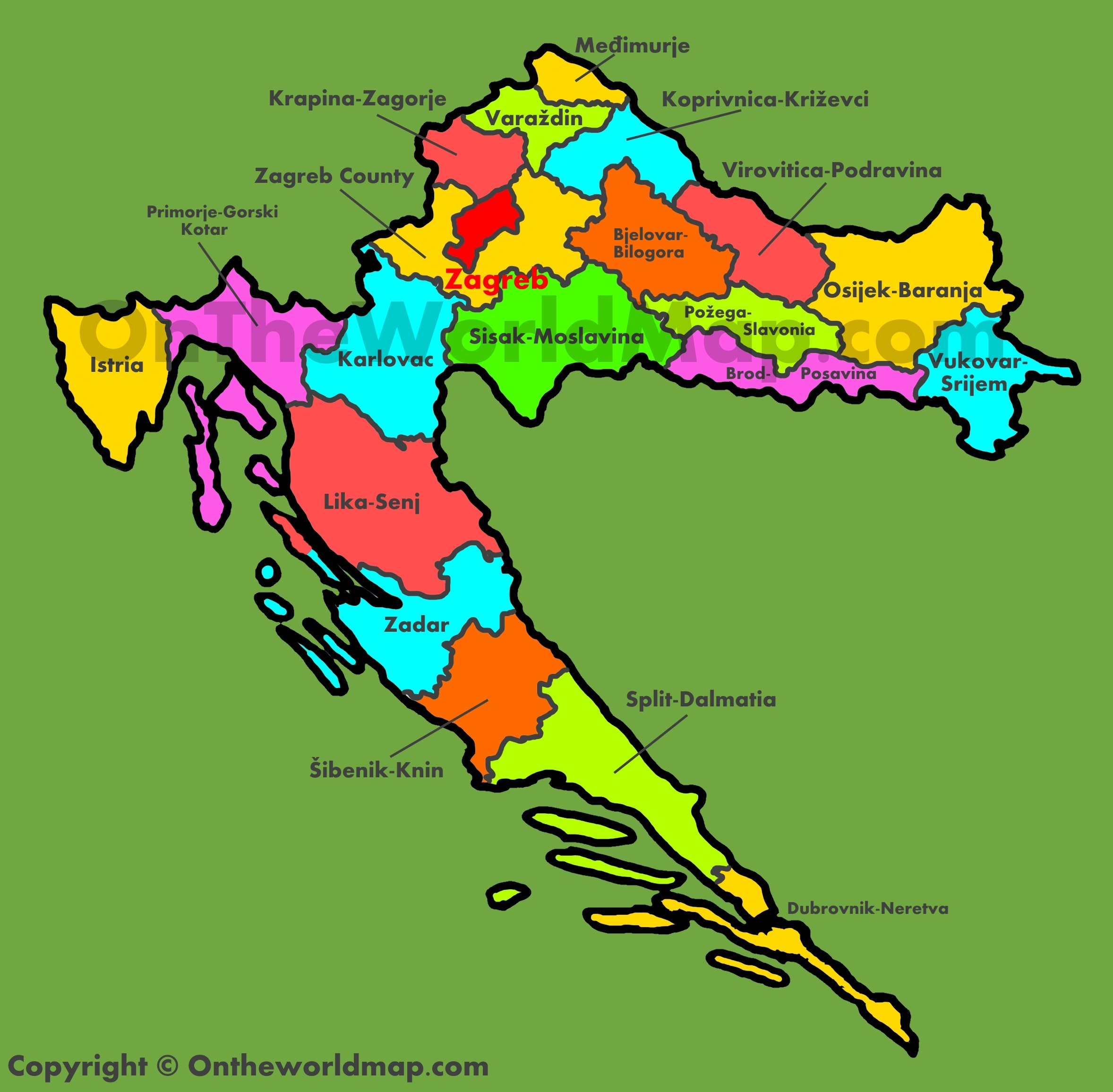 Croatia maps maps of croatia administrative map of croatia gumiabroncs Choice Image
