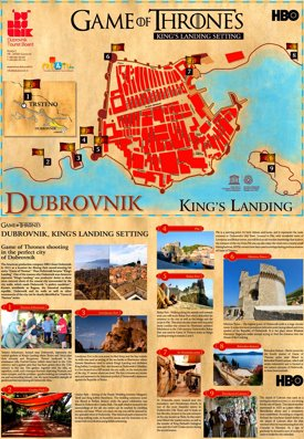 Dubrovnik Game of Thrones Map