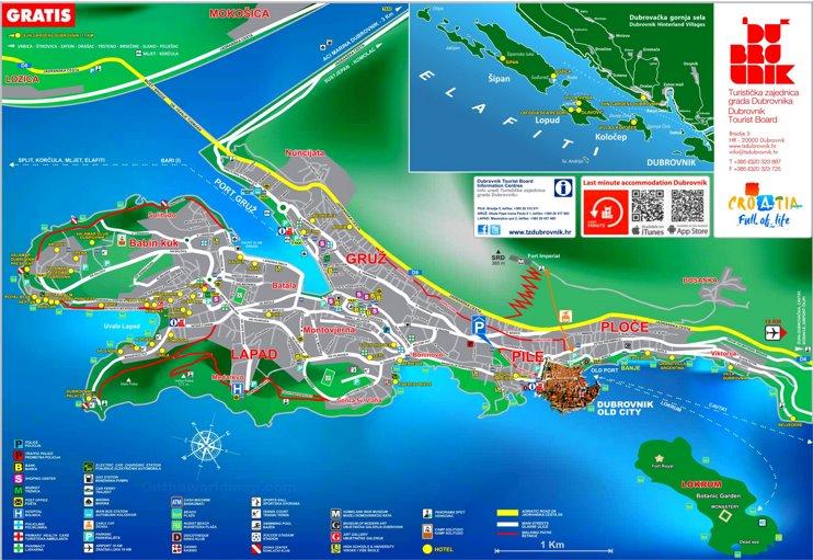 Dubrovnik hotel map