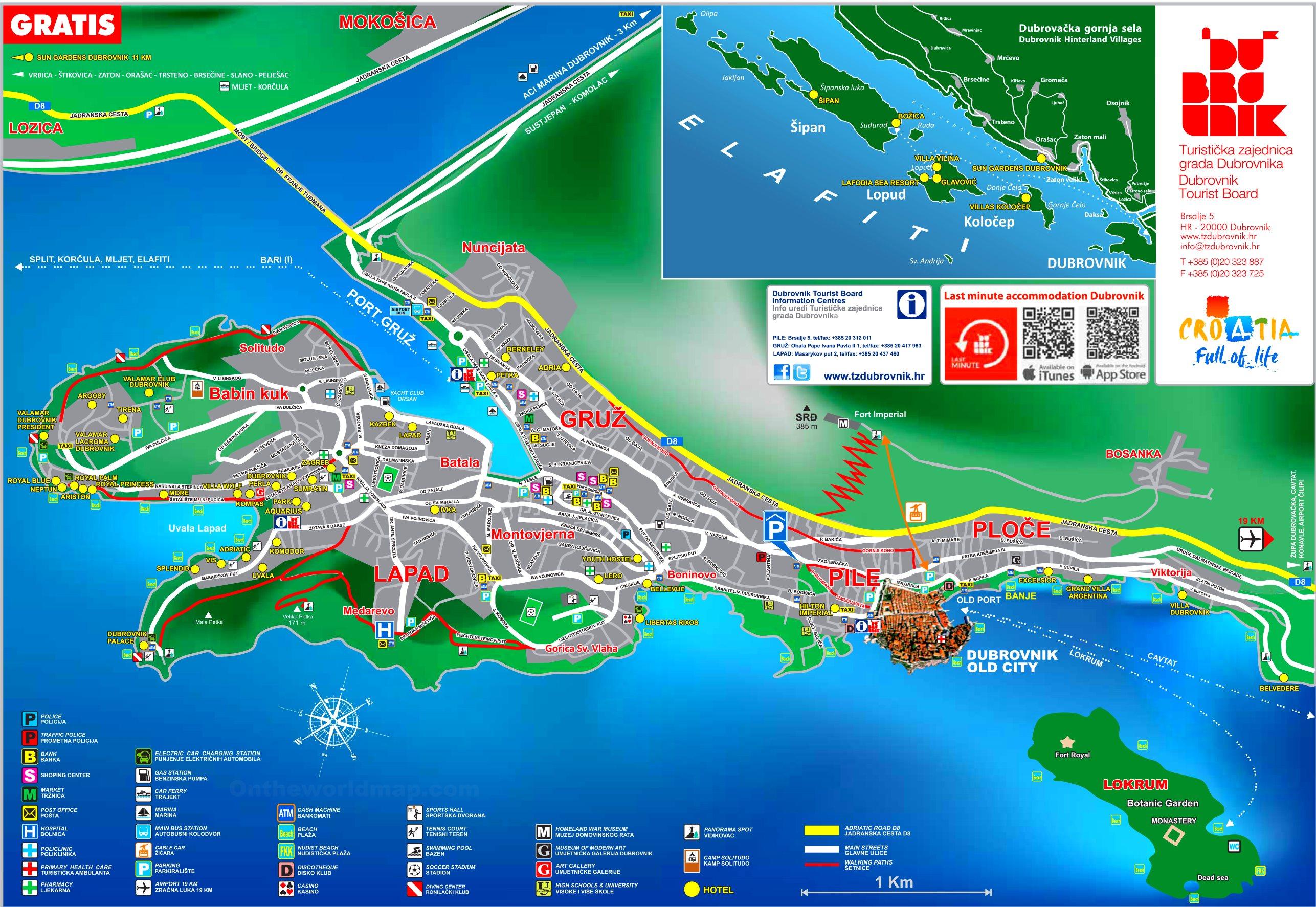Dubrovnik hotel map on