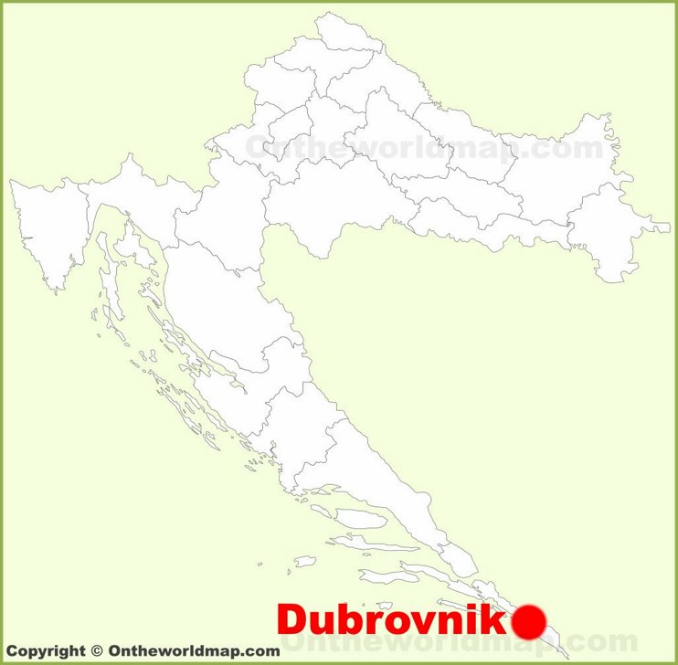 Dubrovnik location on the Croatia map