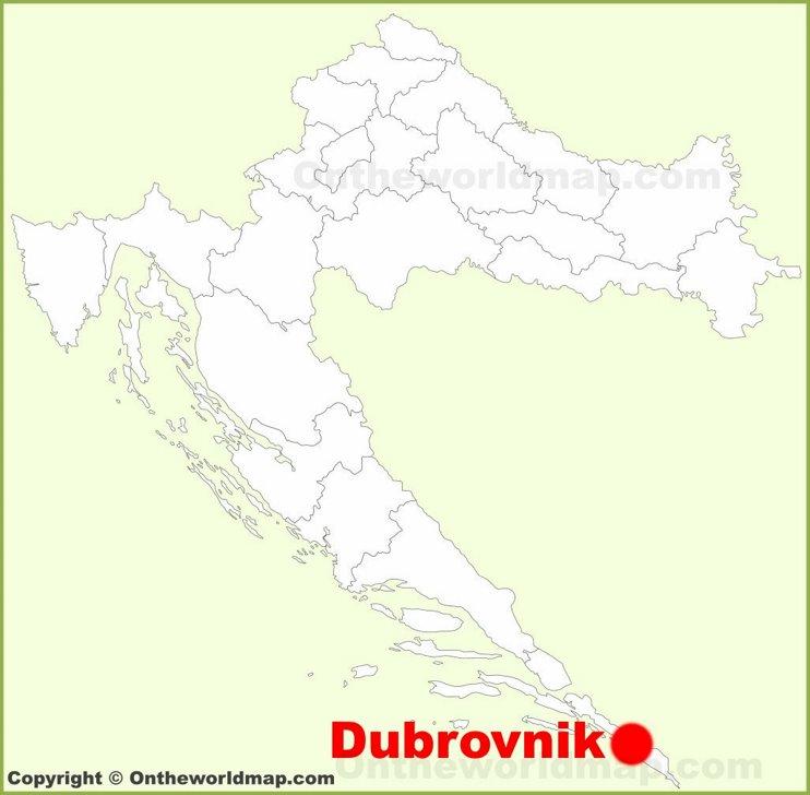Dubrovnik location on the Croatia map