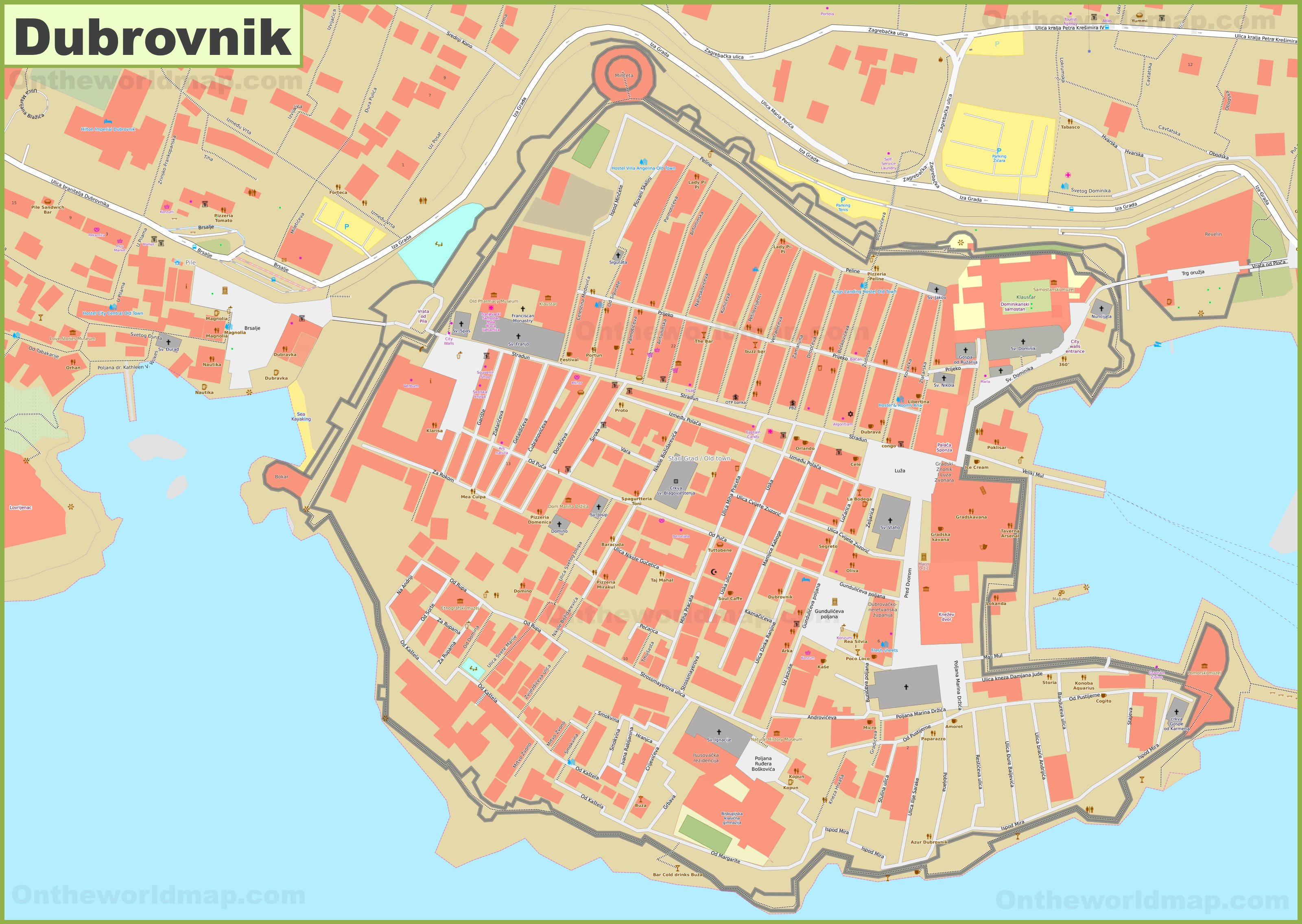 Dubrovnik old town map on