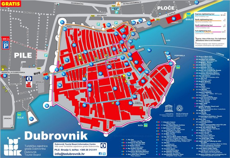 Dubrovnik sightseeing map