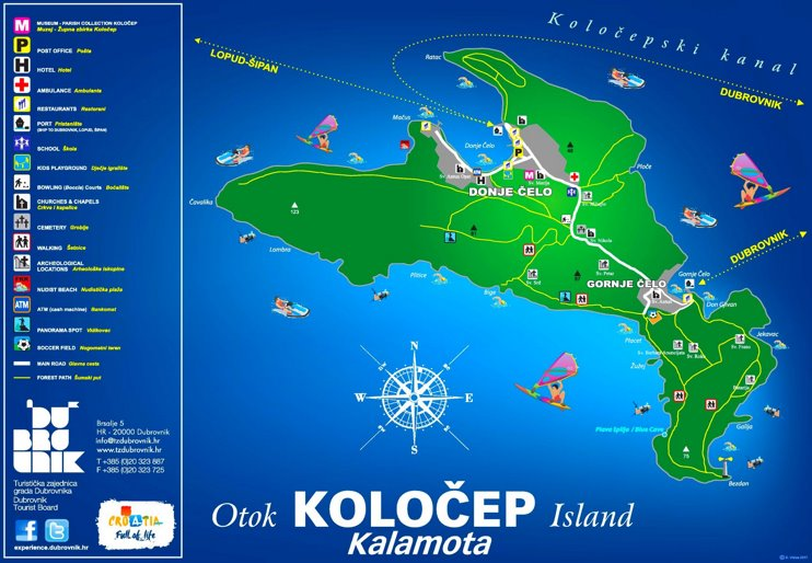 Koločep Island tourist map