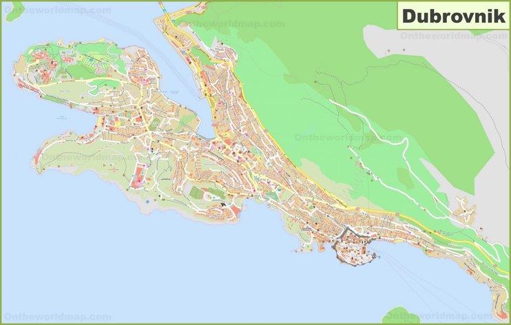 Large detailed map of Dubrovnik