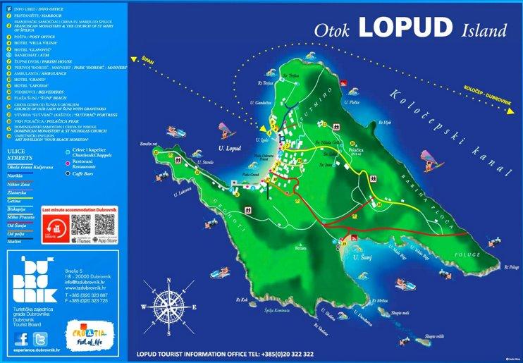 Lopud Island tourist map