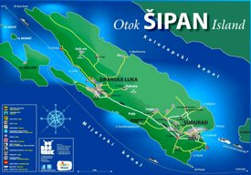 Šipan Island tourist map