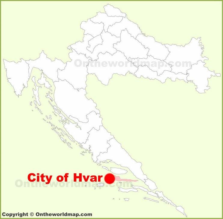 City of Hvar location on the Croatia map
