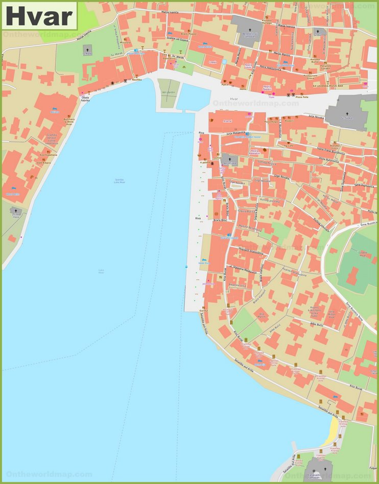 Hvar old town map