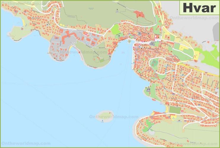 Large detailed map of Hvar