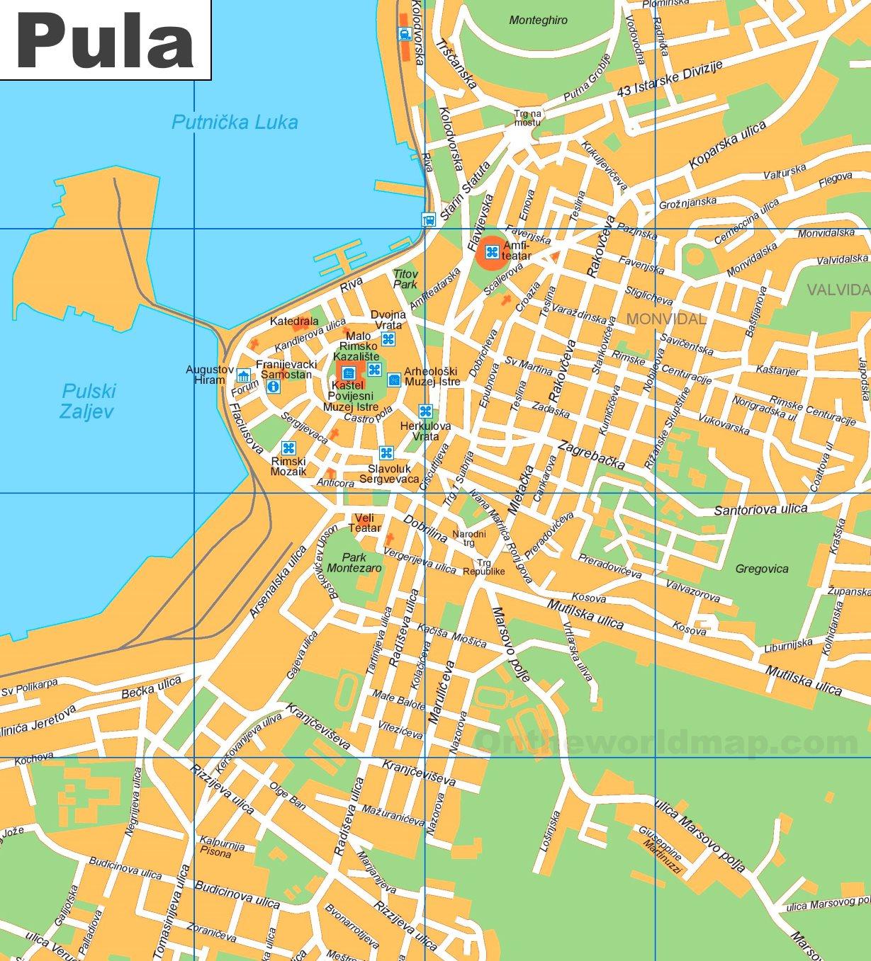 Pula Tourist Map