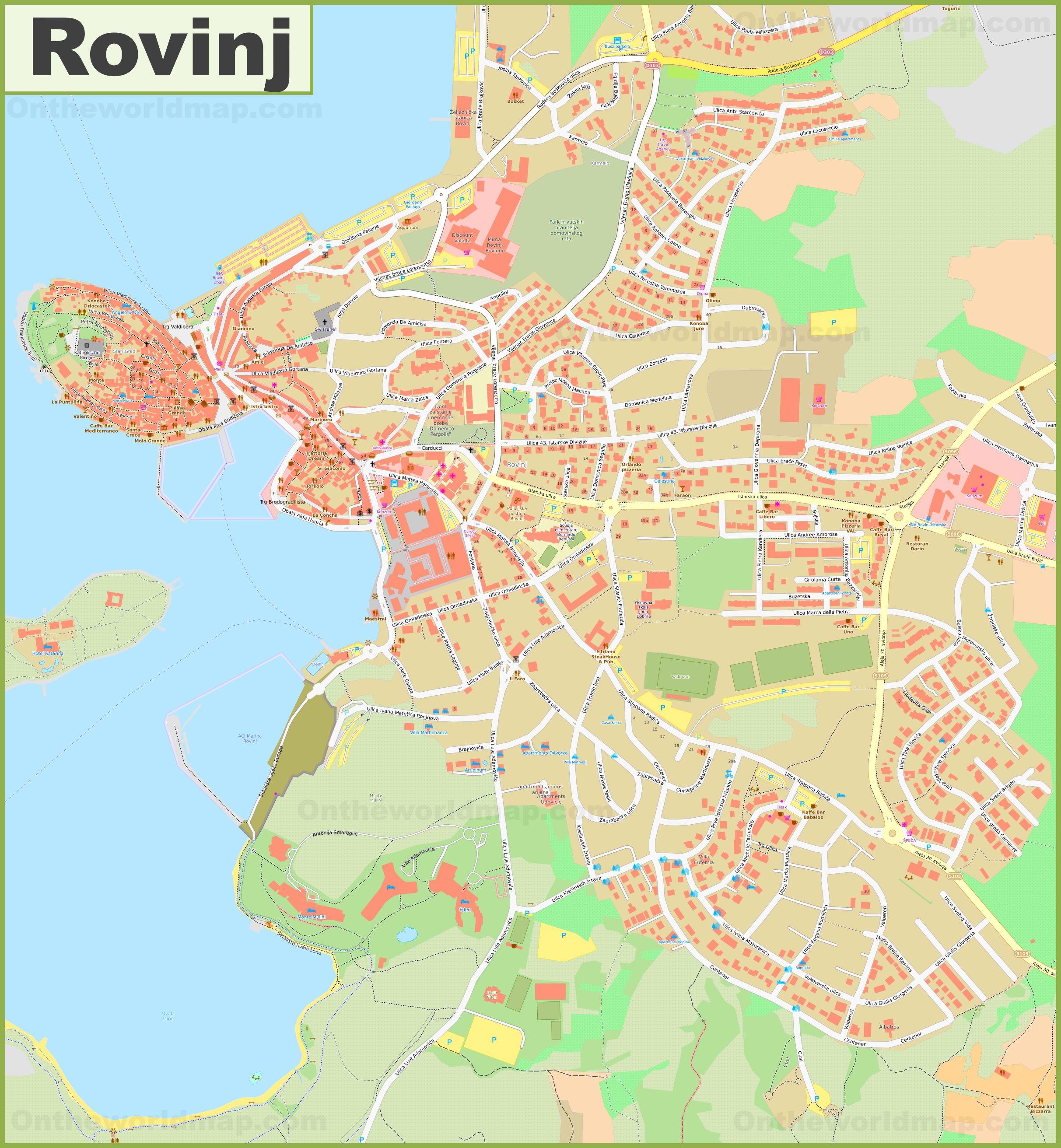 Large Detailed Map Of Rovinj