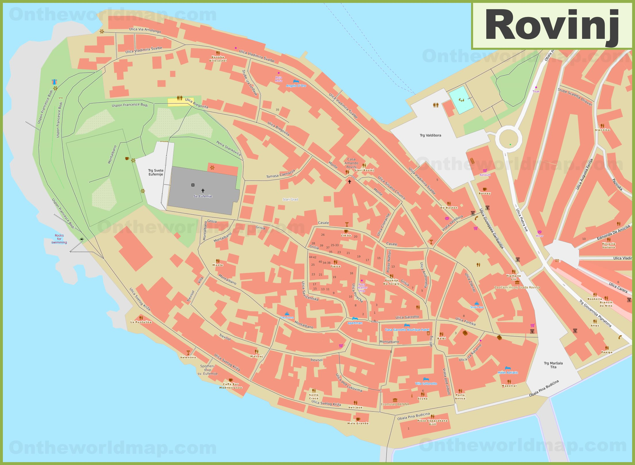 Rovinj Old Town Map