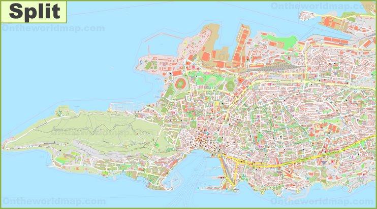 Large detailed map of Split