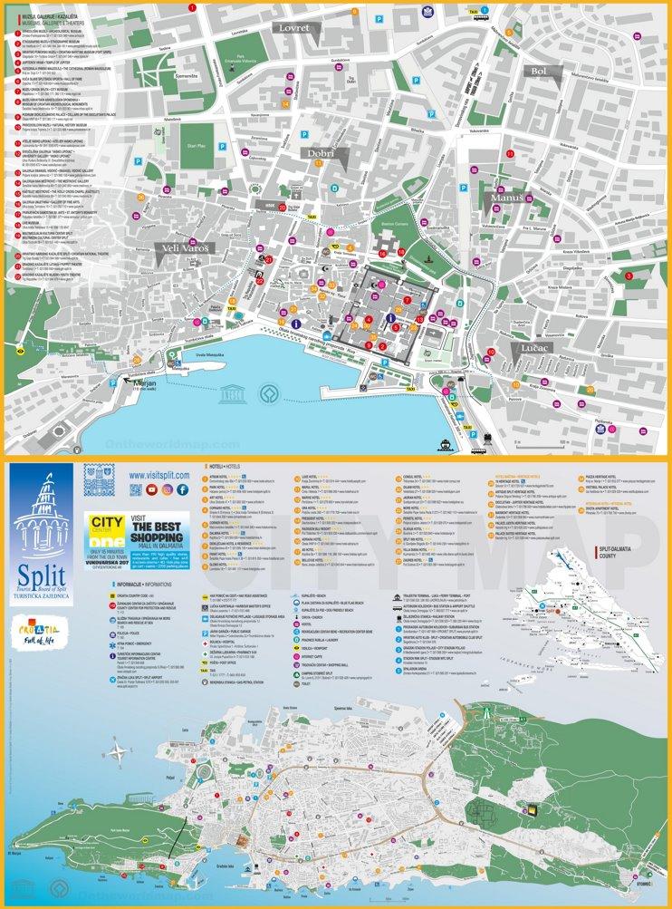 Split tourist map