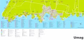 Umag hotels and restaurants map