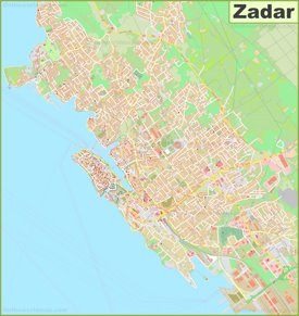 Large detailed map of Zadar