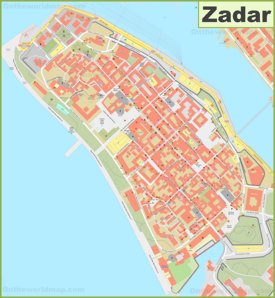 Zadar old town map