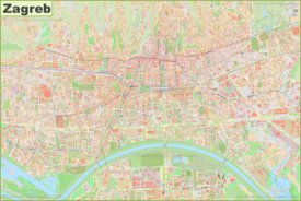 Large detailed map of Zagreb
