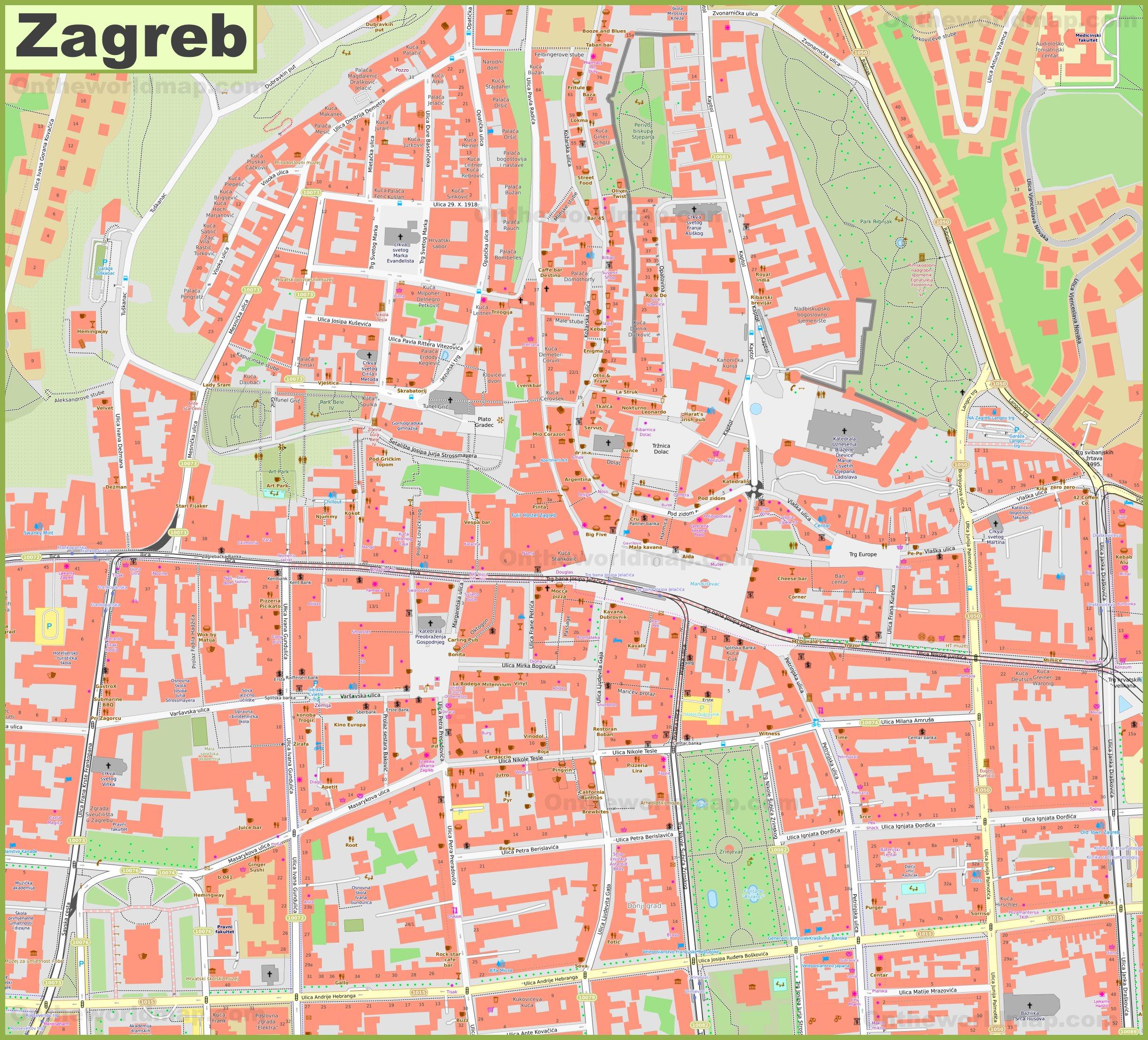 Zagreb city center map on