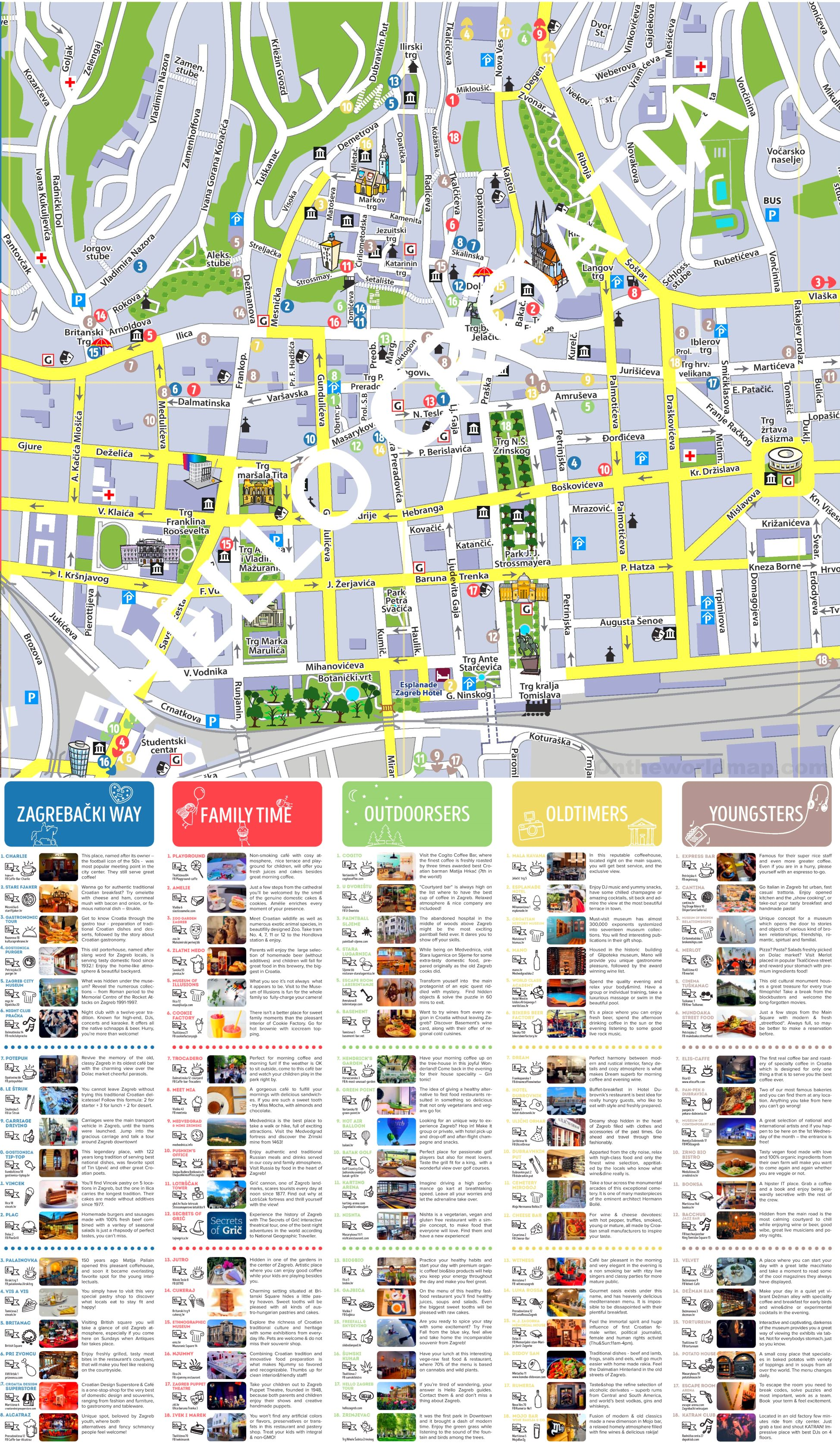 Zagreb tourist attractions map on rijeka city map, opatija city map, prizren city map, vukovar city map, treviso city map, cotonou city map, belgrade city map, film city map, geneva city map, zug city map, serbia city map, goteborg city map, perth city map, pretend city map, cluj city map, santiago city map, pula city map, alicante city map, port of spain city map, marbella city map,