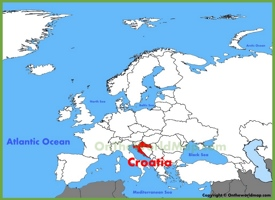 Croatia location on the Europe map