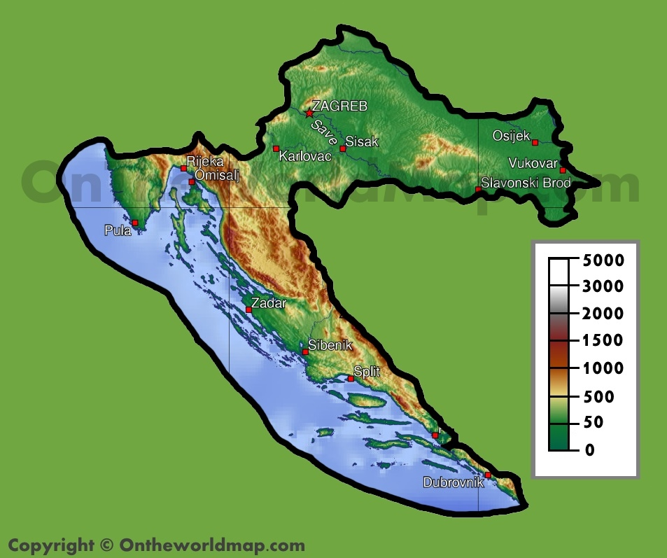 Croatia Physical Map - Croatia physical map