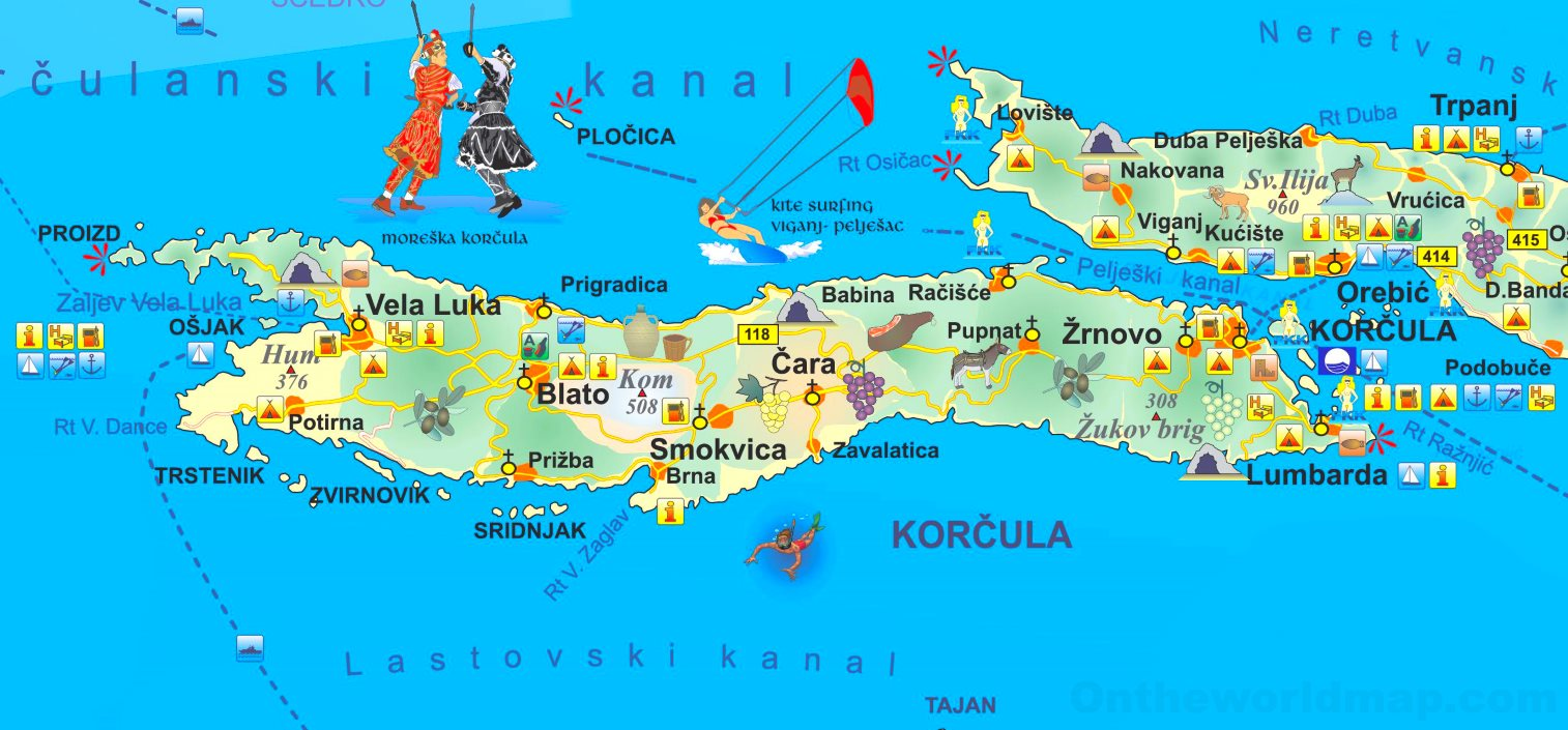 Korcula Tourist Map