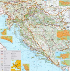 Large detailed map of Croatia with cities and towns