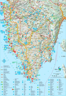 Detailed tourist map of Istria