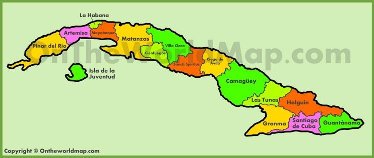 Administrative map of Cuba