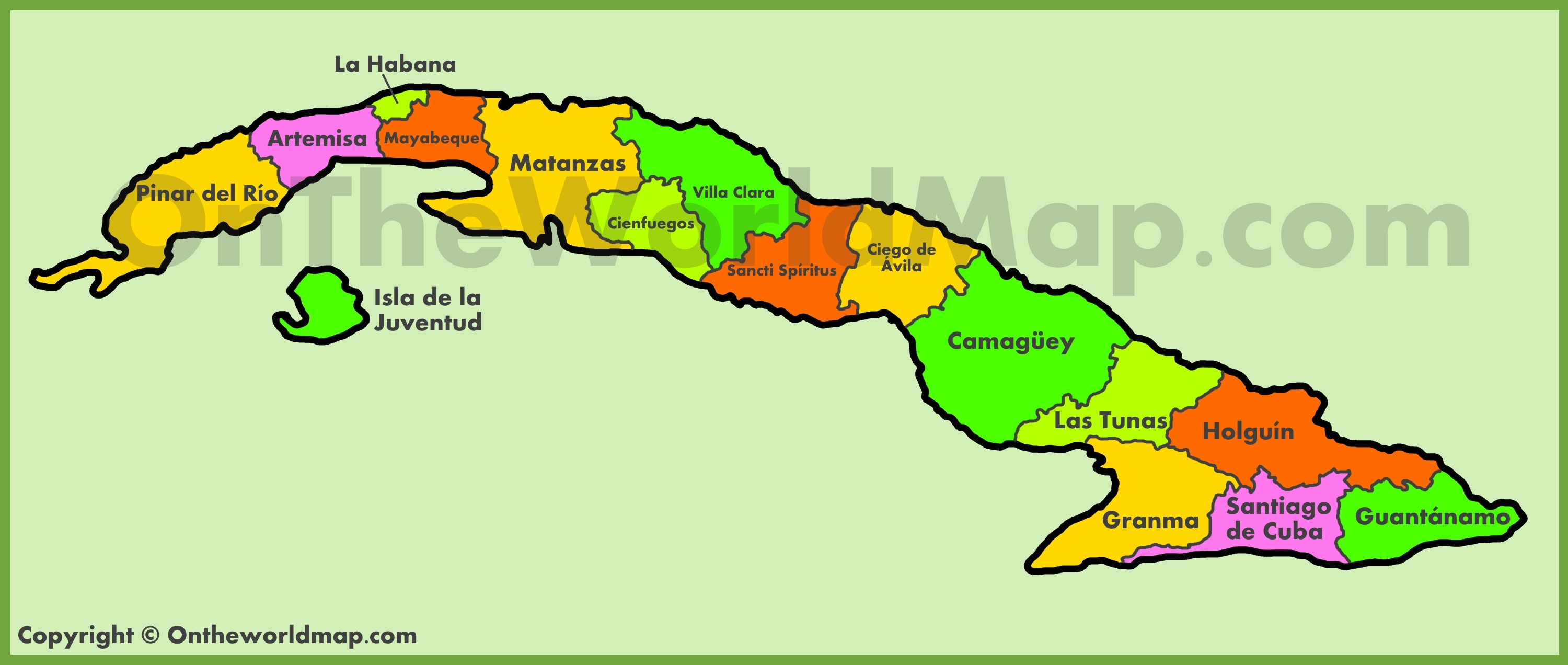 This is a graphic of Clever Printable Map of Cuba