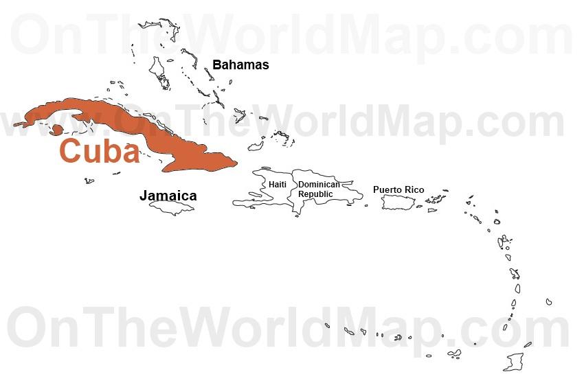 Cuba on the World Map Cuba on the Caribbean Map Cuba on the North America