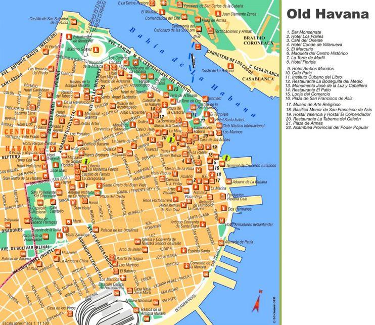 Havana Tourist Map