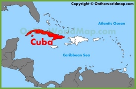Cuba location on the Caribbean map