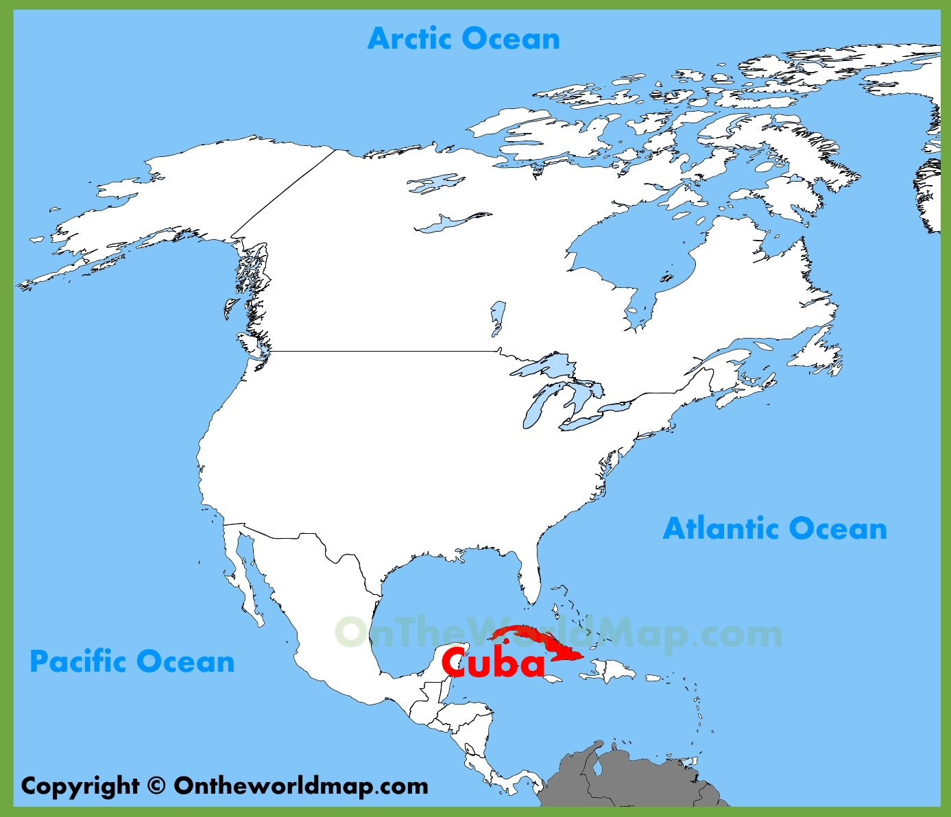 Cuba location on the North America map