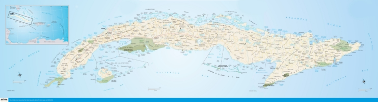 Large detailed road map of Cuba