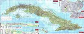 Large detailed tourist map of Cuba with cities and towns