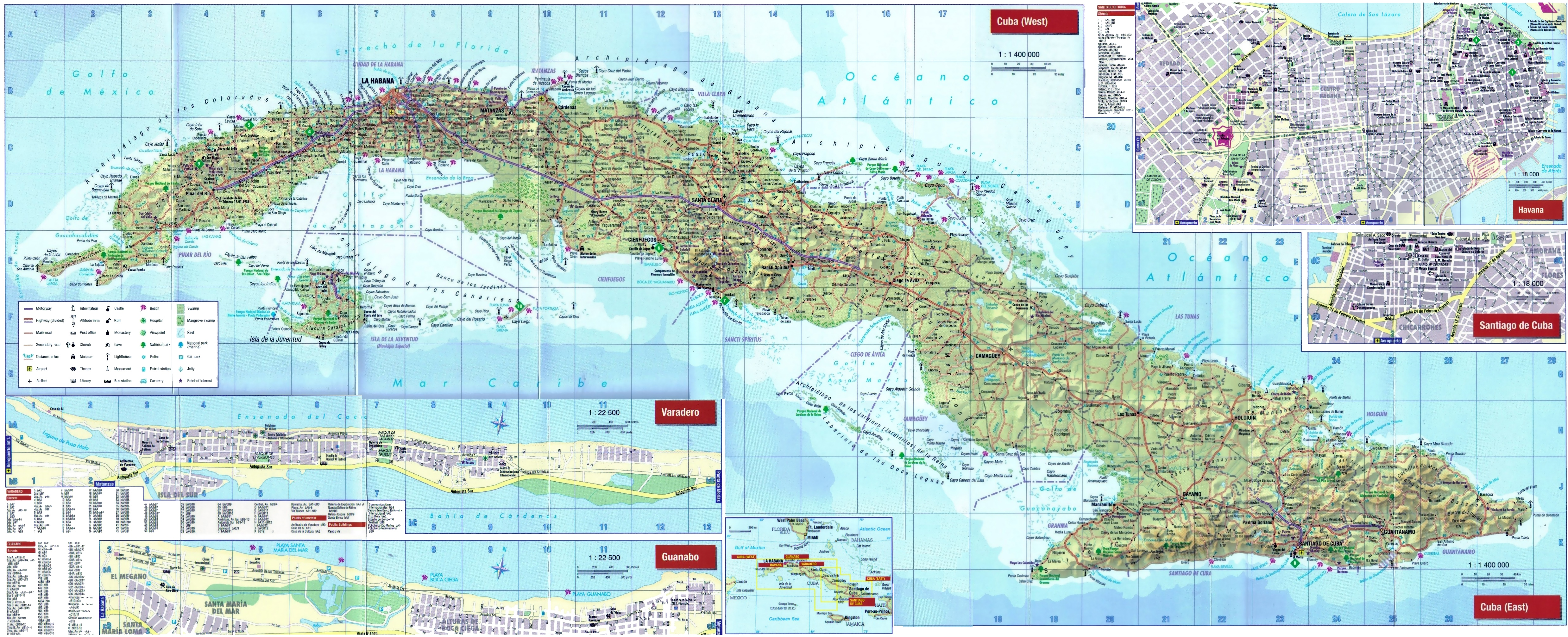 large detailed tourist map of cuba with cities and towns -