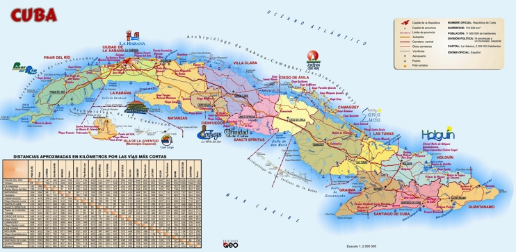 Large detailed travel map of Cuba