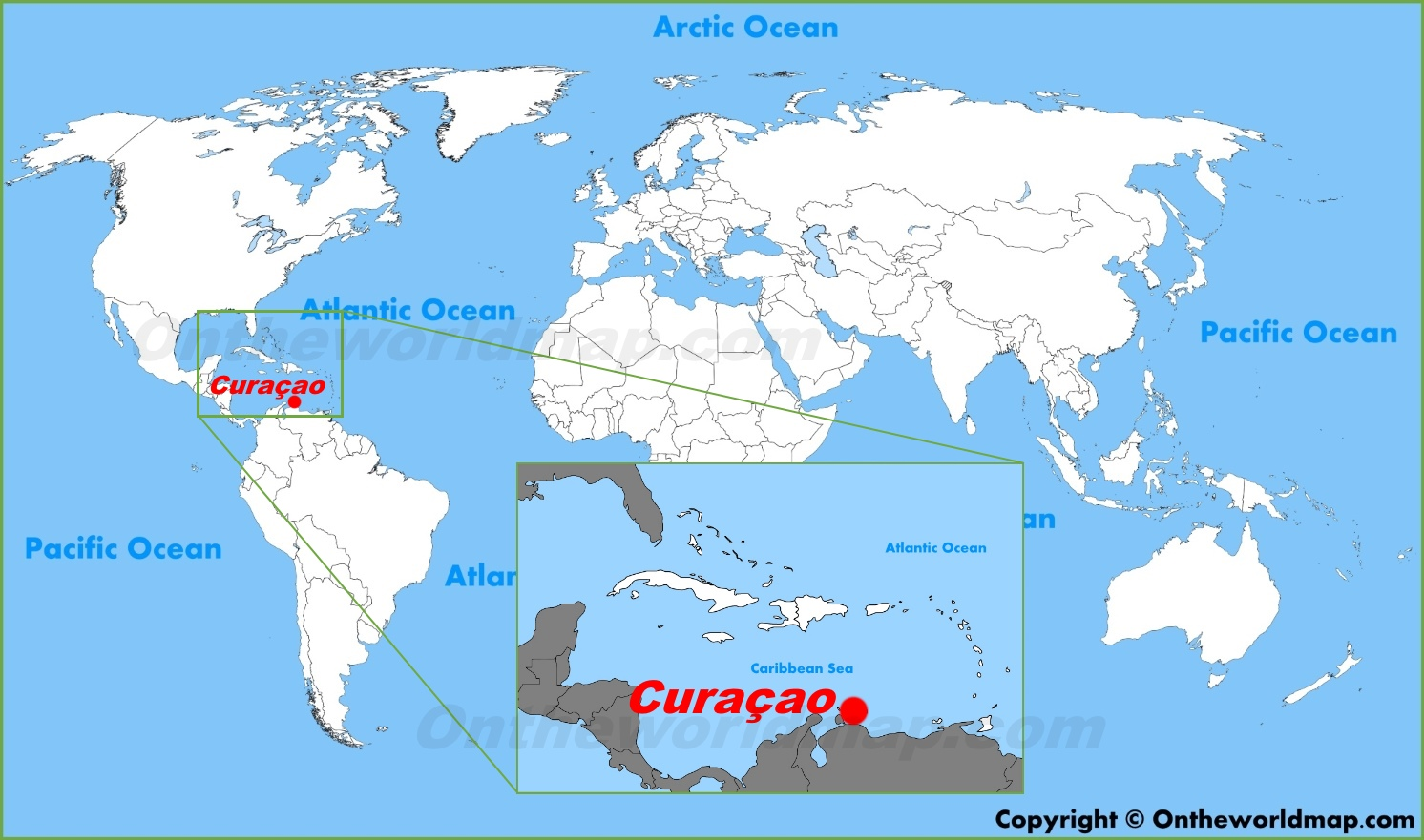Curacao Location On World Map.Curacao Location On The World Map