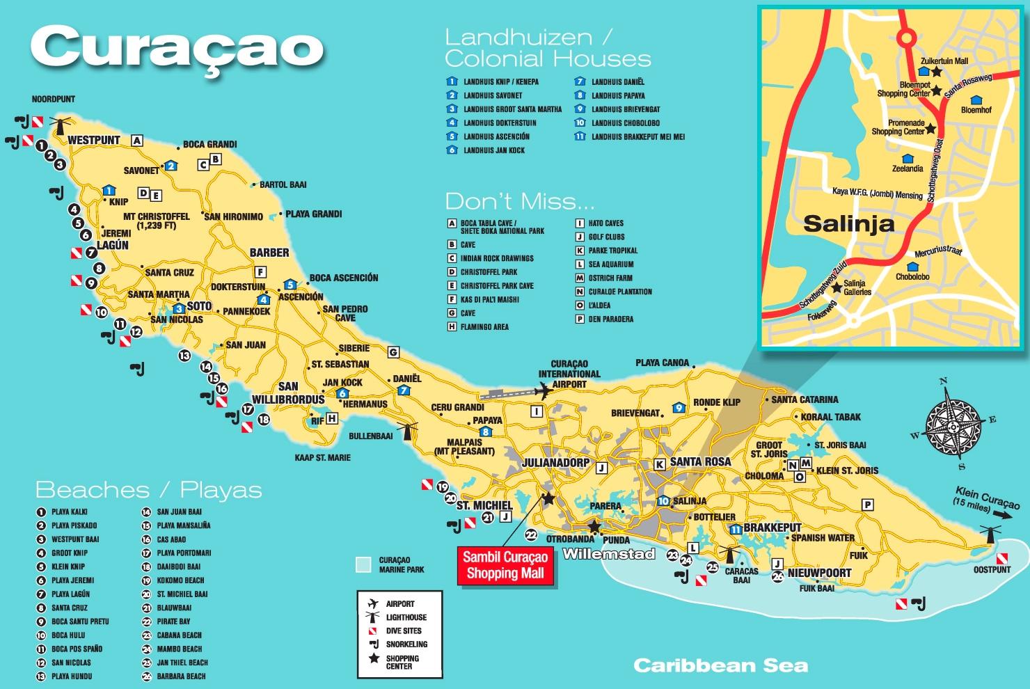 Curaà Ao Tourist Map ï Curacao Maphtml