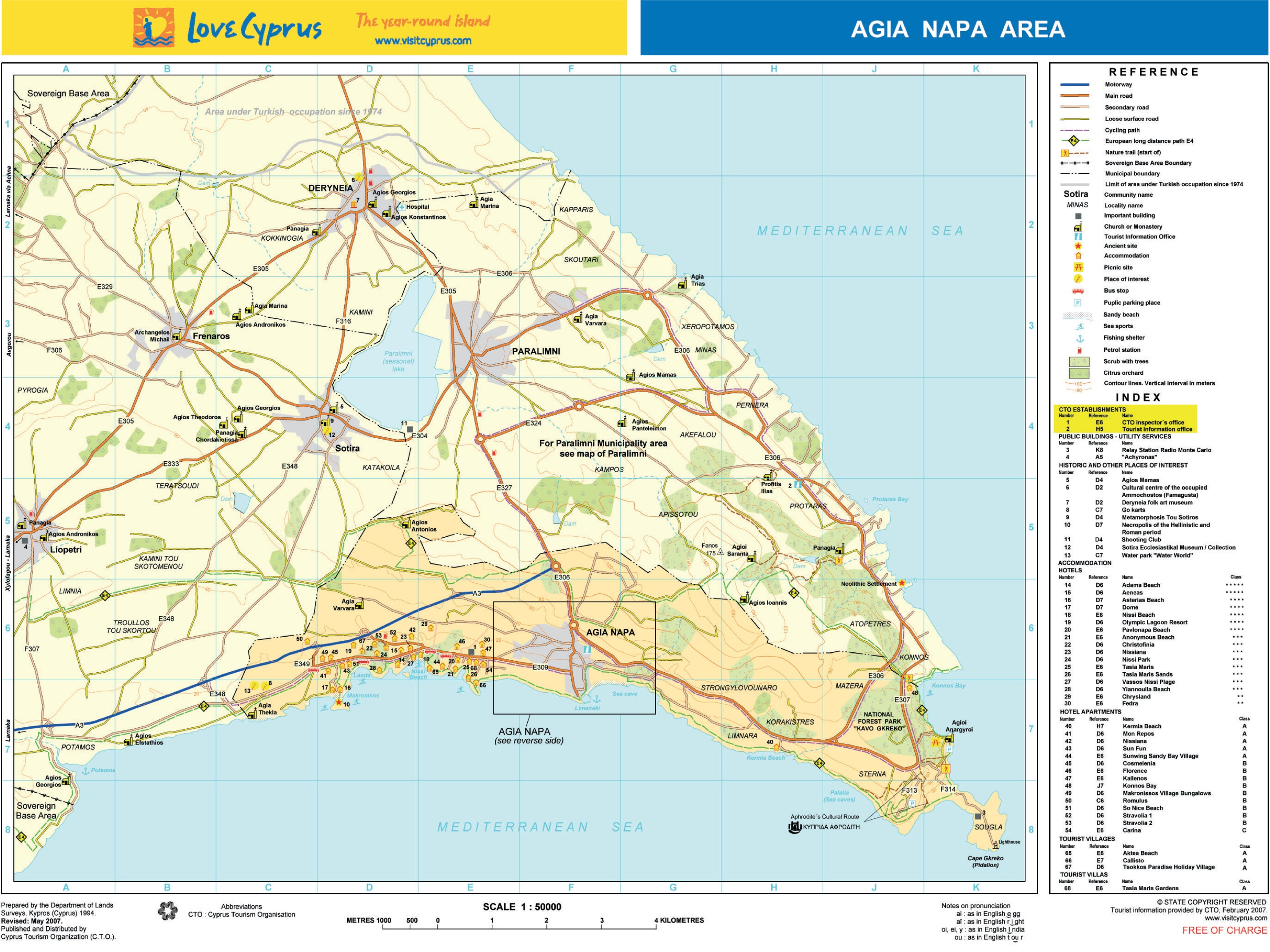 Ayia Napa area tourist map