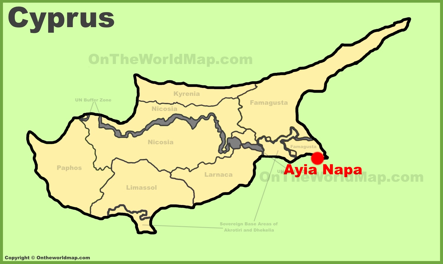 Ayia Napa location on the Cyprus map