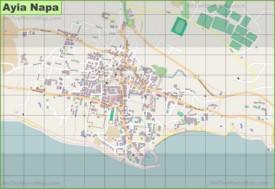 Large detailed map of Ayia Napa