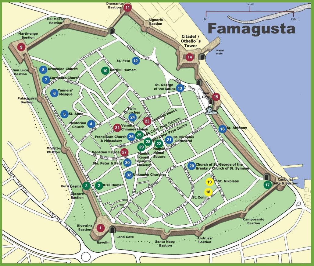 Famagusta tourist map