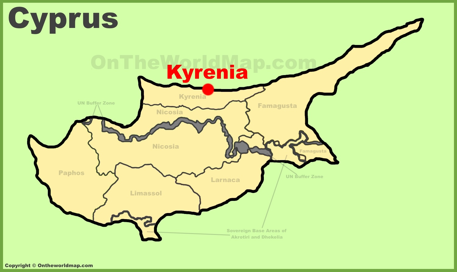 Kyrenia location on the Cyprus map
